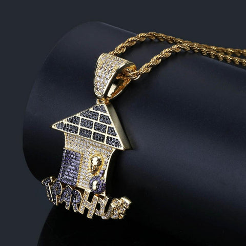 Hip Hop Trap House Pendant With 4mm Tennis Chain
