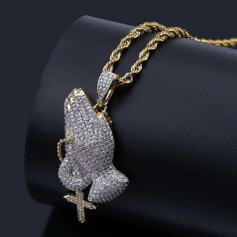 Iced Out Praying Hand Pendant Necklace With Cross Gold Silver Color