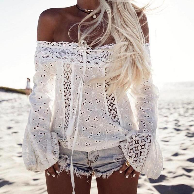 Lace Cotton Off-Shoulder Tank Tops