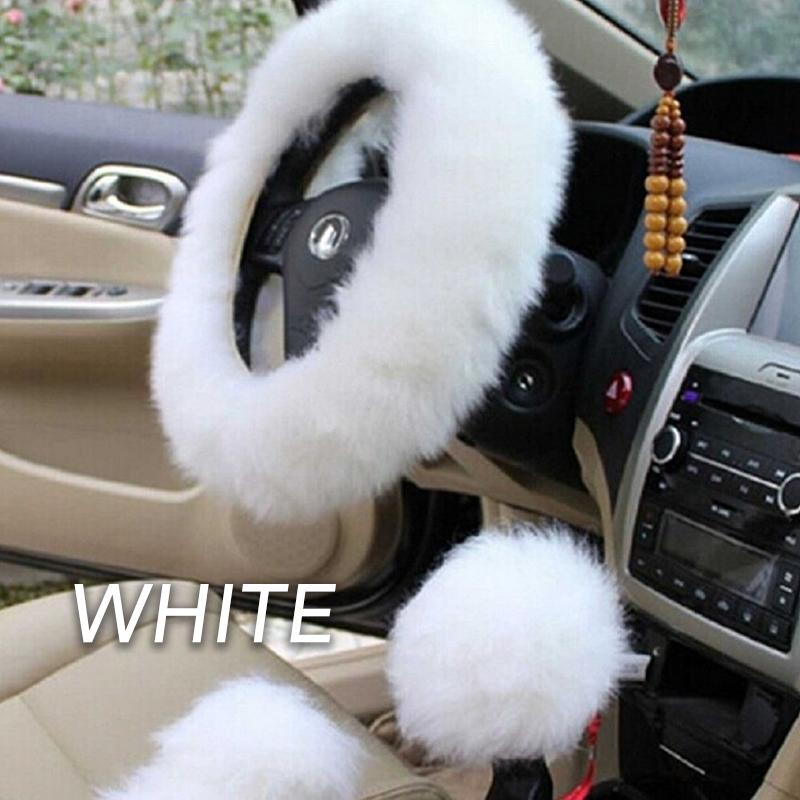 Steering Wheel Fluffy Wool Cover