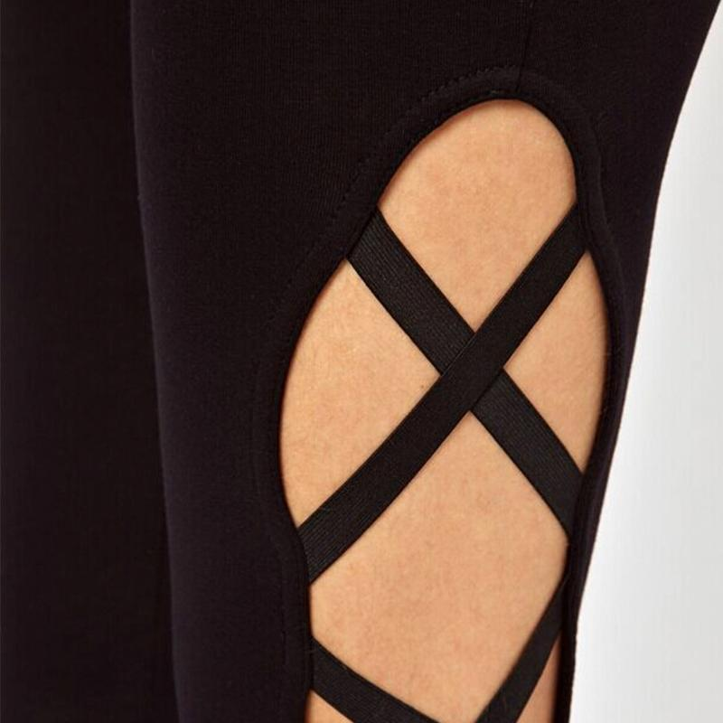 Side Cross Cut Out Pattern Leggings