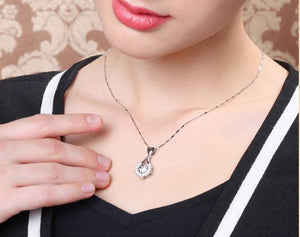 Bling Heart Waterdrop Shape Necklace