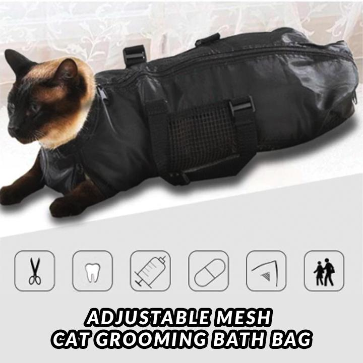 Adjustable Mesh Cat Grooming Bath Bag