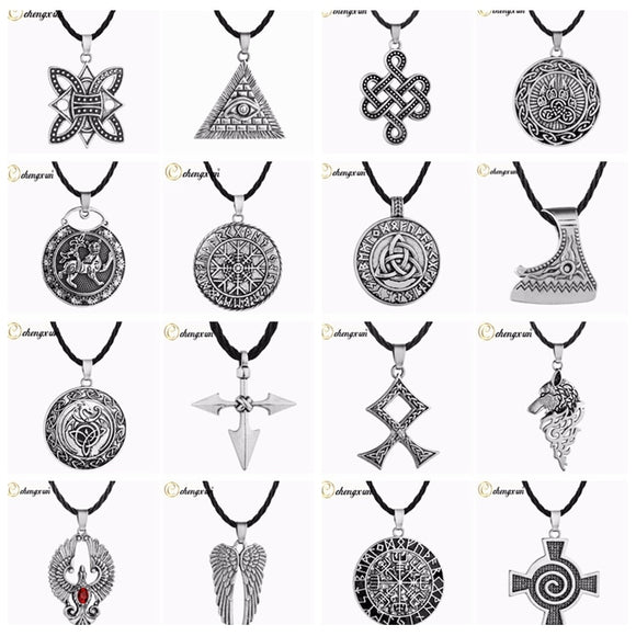 CHENGXUN Multiple Men Necklace Viking Odin Symbol Helmet Horror In Rune Braided Borre Knot Norse Unique Pendant Punk Gift - Magic-Charms.com