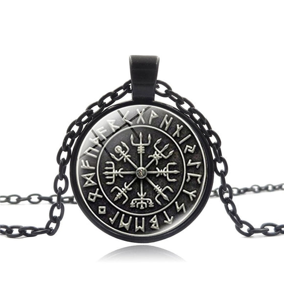 Fashion Glass Dome SYMBOL OF NORSE RUNIC NORSE Runes Vegvisir Pendant Necklace Compass With Chain For Women Men Viking Jewelry - Magic-Charms.com