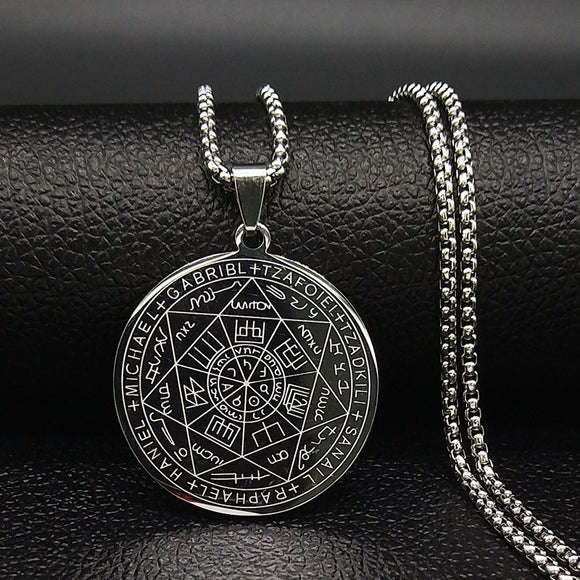 Fashion Witchcra Pentagram Stainless Steel Choker Necklaces Chain Jewelry Men Silver Color Necklaces Jewelry colgante N18903 - Magic-Charms.com