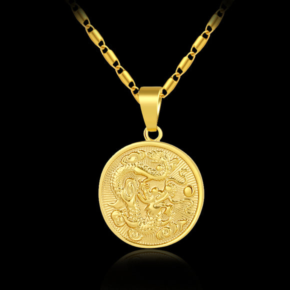Fashion delicate auspicious Dragon Pendant necklace for women/men gold color Mascot Ornaments Lucky Jewelry Gifts Bijoux - Magic-Charms.com