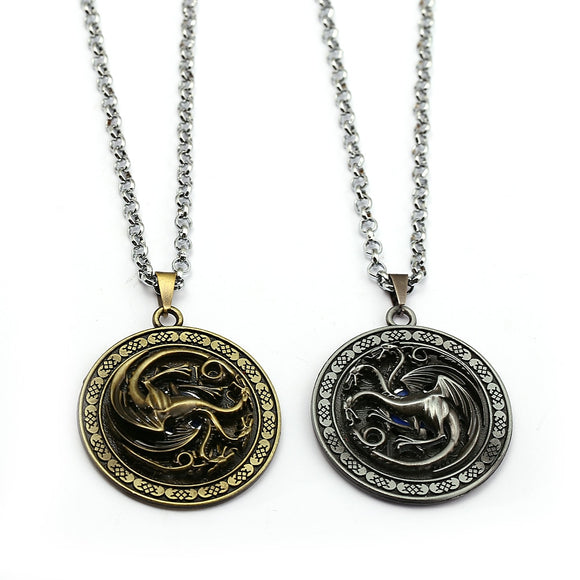 Game of Throne Necklace House of Targaryen Dragon Metal Rotating Pendant Choker A Song of Ice and Fire and Blood Charm Jewelry - Magic-Charms.com