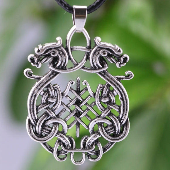 LANGHONG 1PCS Nordic Amulet Pendant Necklace Large Double Dragon Pendant Necklace Jewelry Wiccan Necklace Norse Pagan Talisman - Magic-Charms.com