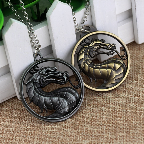 Movie Jewelry Fighting Games Mortal Kombat necklace dragon Jane Empire Vintage Big Pendant For Men Women Christmas Cosplay Gift - Magic-Charms.com