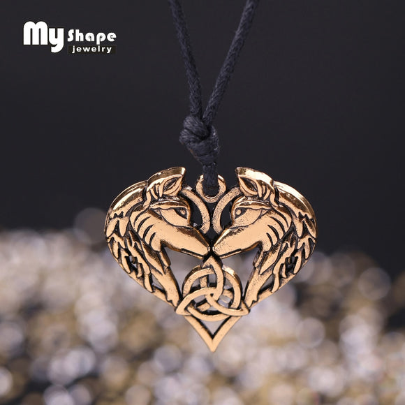 My shape Celtics Spirit Wolf Pendant Necklace Couple Heart Necklaces Love gift Norse Vikings Wolf Head Original Animal Jewelry - Magic-Charms.com