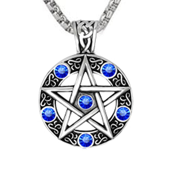 Punk Style Witch Necklace Gothic Pewter Pentagram Pentacle Pagan Wiccan Pandent Necklace for Men Jewelry Friend Gift - Magic-Charms.com