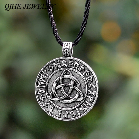 QIHE JEWELRY Viking necklace Circle trinity pendant necklace Valknut necklace Viking norse rune jewelry Gift for men - Magic-Charms.com