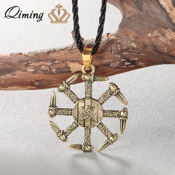 QIMING Silver Viking Necklace Men Pagan Jewelry Stunning Kolovrat Pendant Necklace Swords Charm Handmade Punk Women Jewelry - Magic-Charms.com