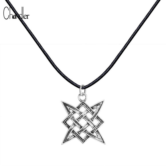 Slavic Norway Valknut Viking Svarog square pendant Colier Star Rus amulet Charm Ancient talisman jewelry pagan men Rope necklace - Magic-Charms.com