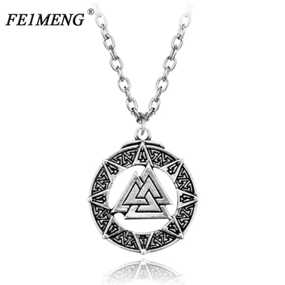 Viking Necklace Slavic Norway Valknut Pagan Amulet Pendant Scandinavian Odin 's Symbol of Norse Warrior Necklace For Men Jewelry - Magic-Charms.com