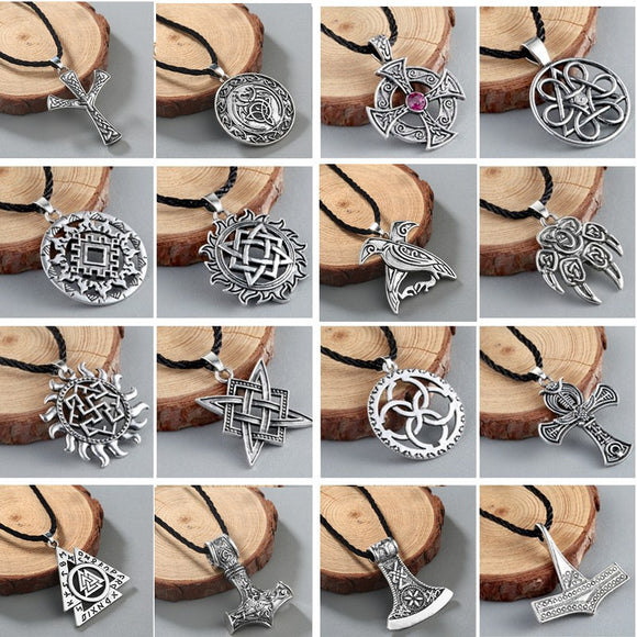 Viking Valknut Pendant Men's Necklace Women Round Pagan Religious Male Man Slavic Silver Steampunk Jewelry Tibetan Amulet Gift - Magic-Charms.com