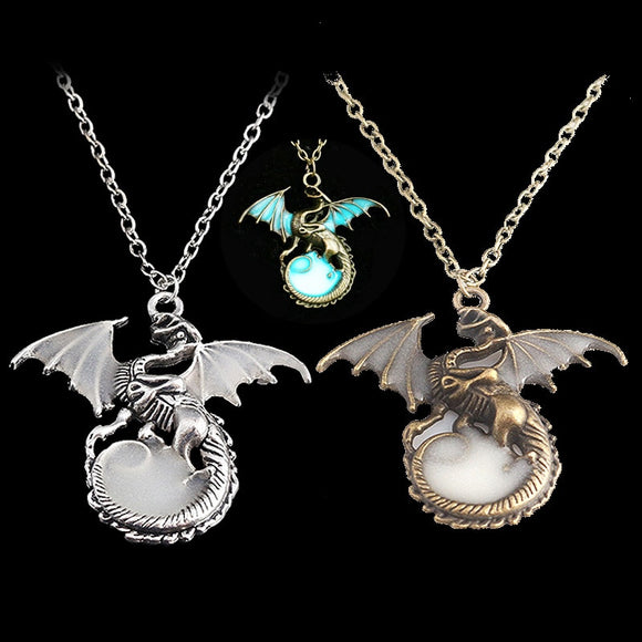 Vintage Power Game Night Light Dragon Pendant Necklace Ice and Fire Song Punk Chain Necklaces Women Men Jewelry Boyfriend Gift - Magic-Charms.com
