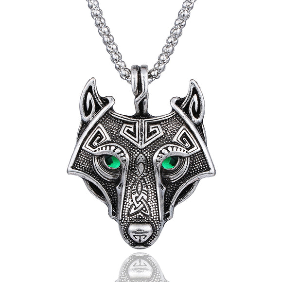 Vintage Punk Style Norse Vikings Wolf Head Necklace Pendant Green Crystal Eyes Original Animal Jewelry Wolf Head For Men Gift - Magic-Charms.com