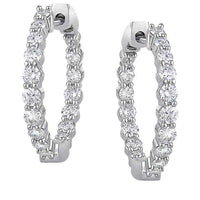 Round Brilliant 1.00 ctw VS2 Clarity, I Color Diamond 14kt White Gold Inside Outside 3/4 Inch Hoop Earrings