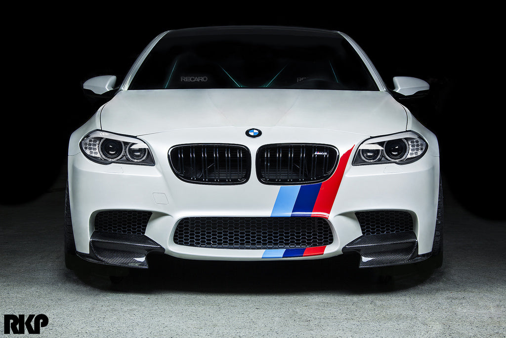 Front of custom white BMW with M5 McRae Splitters