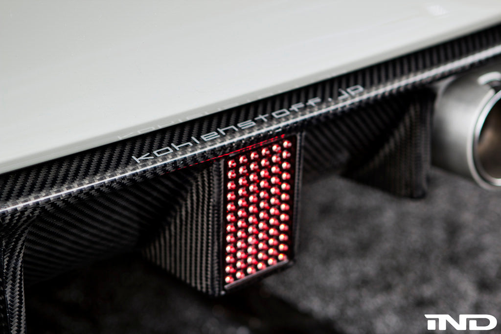 Kohlenstoff f8x m3 m4 carbon fiber rear diffuser with led - iND Distribution