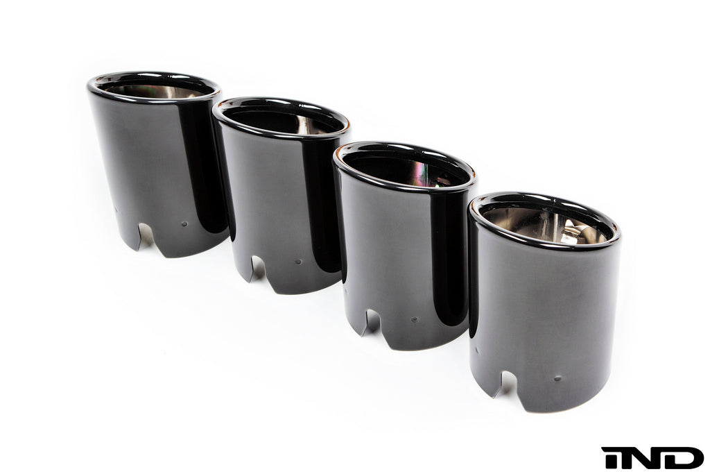 BMW f8x m3 m4 competition package black chrome exhaust tips - iND Distribution