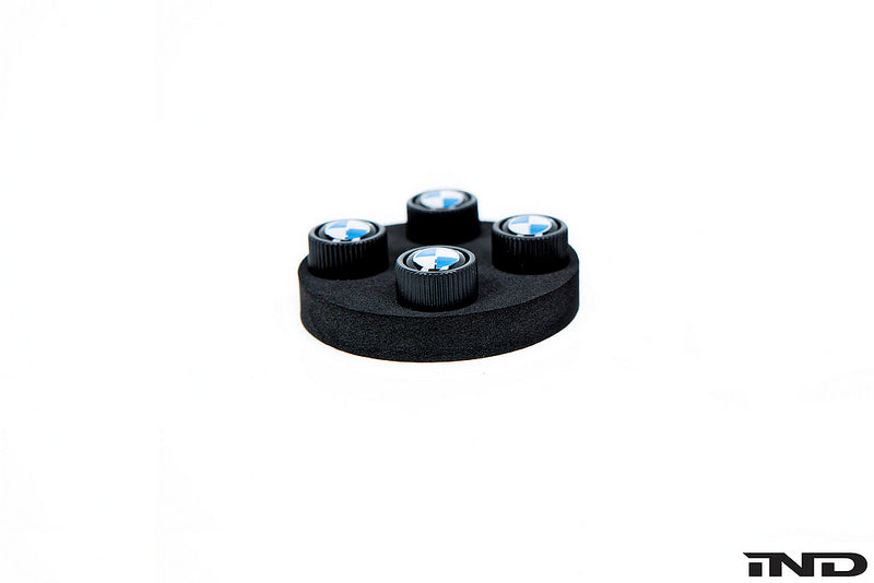 BMW OEM Roundel Black Valve Stem Cap Set 3