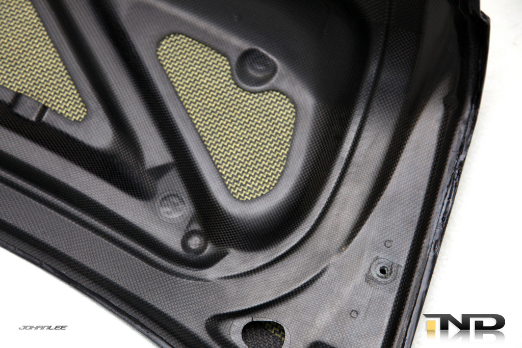 Interior of black carbon fiber race trunk for BMW