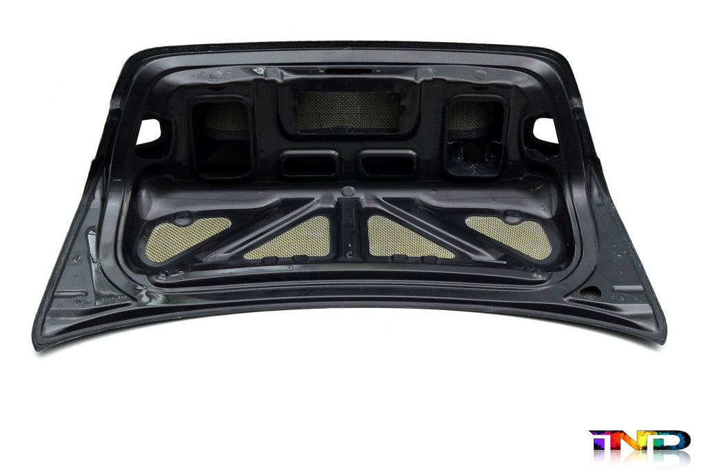 Interior of black carbon fiber race trunk