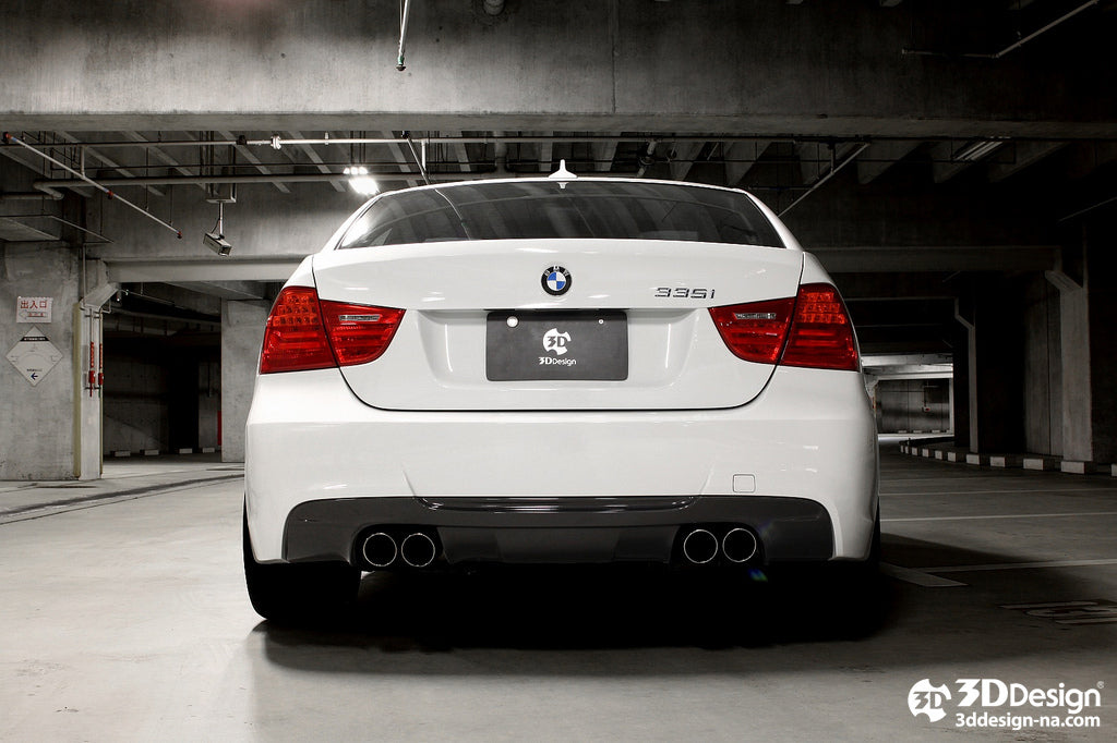 3d design e90 e91 335i m sport carbon fiber rear diffuser - iND Distribution