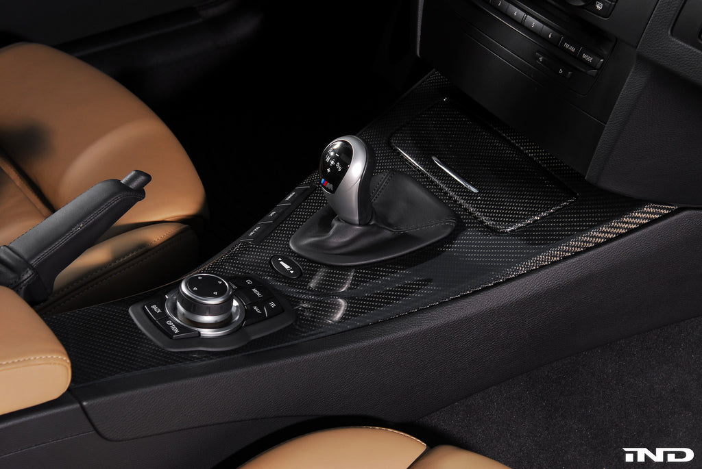 Interior of BMW black carbon fiber center console
