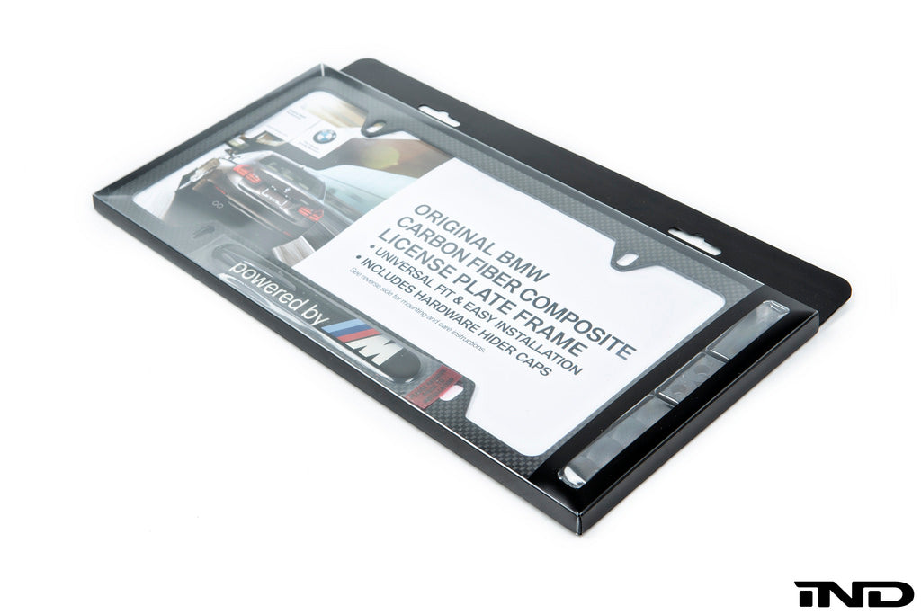 BMW powered by m carbon fiber license plate frame - iND Distribution