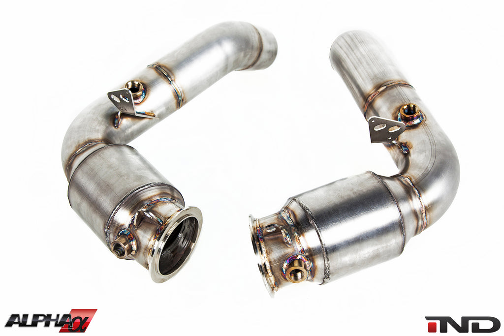 AMS Alpha S63TU Stainless Downpipes 8