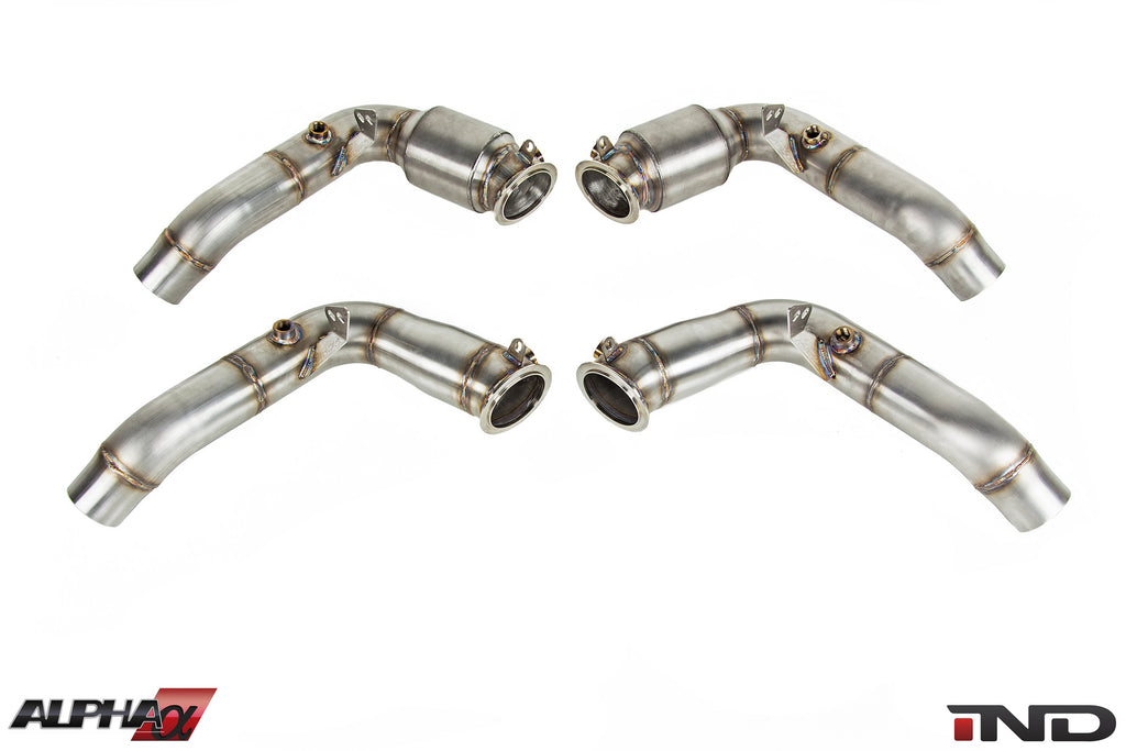 AMS Alpha S63TU Stainless Downpipes 2