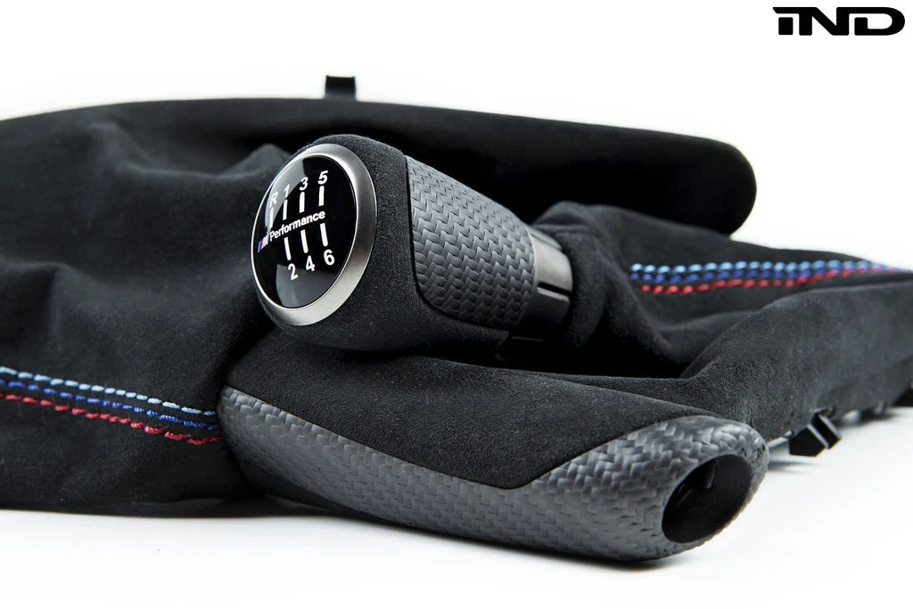 IND F8X M3 / M4 Matte Carbon + Alcantara Parking Brake Set - Straight Stitch