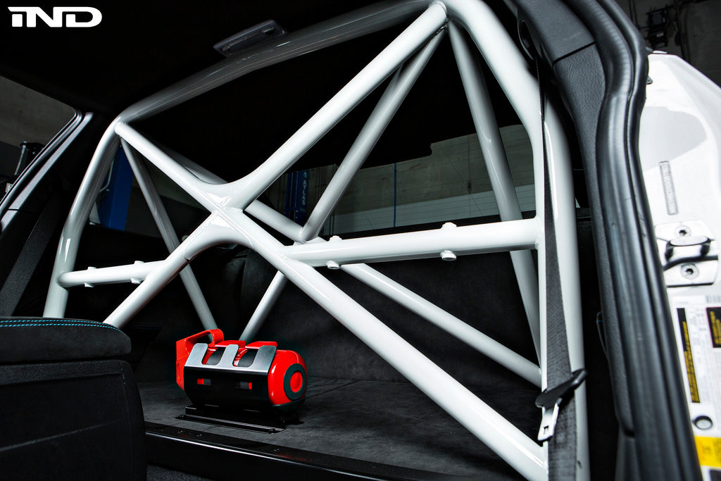 White roll bar in trunk of BMW Motorsport M2 car