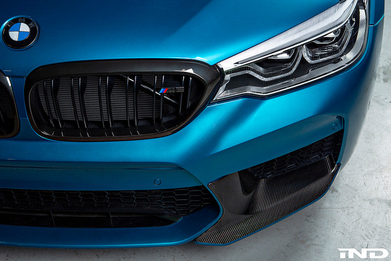 BMW f90 m5 m Performance carbon front splitter set with crt stripe - iND Distribution
