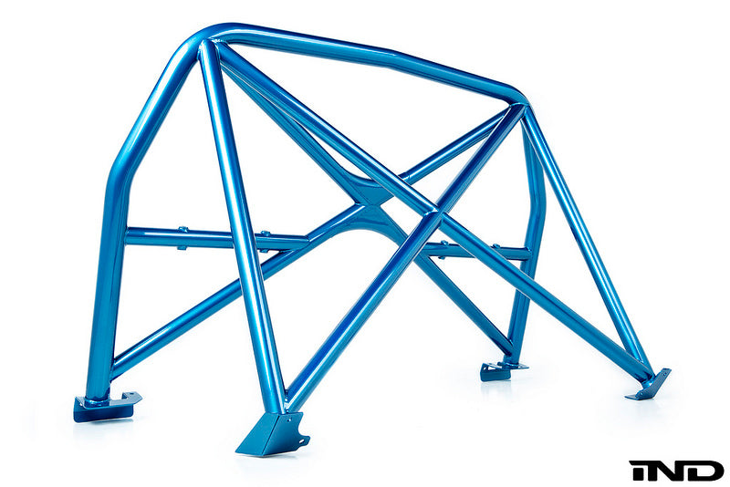 Full view of BMW Long Beach Blue Metallic roll bar against white background