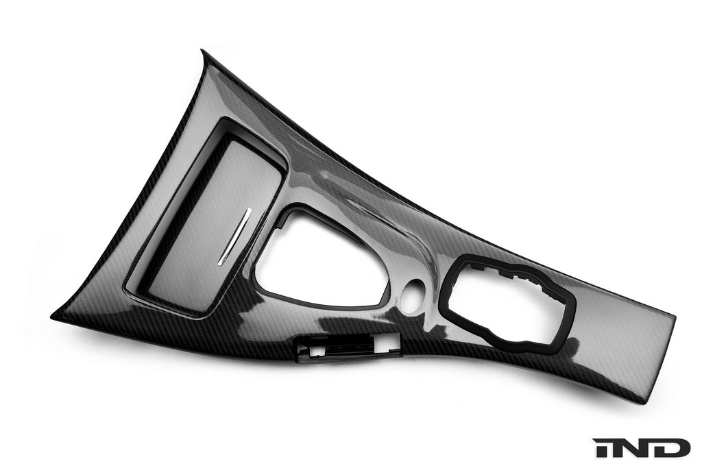 Black carbon fiber 2x2 weave center console for BMW