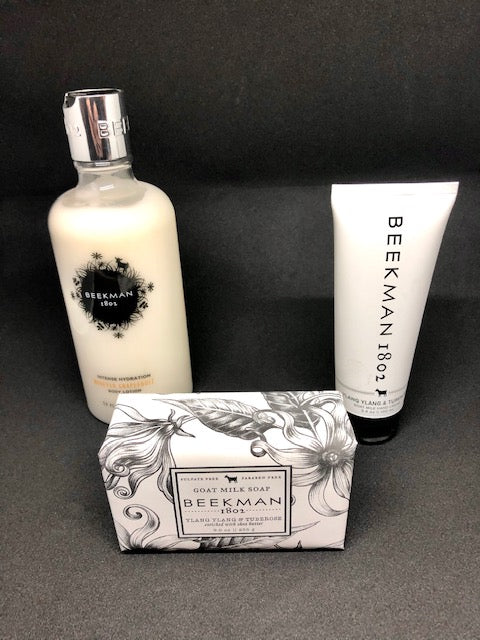 Beekman 1802 body lotion bottle, Beekman 1802 goat milk bar soap and Beekman 1802 hand cream tube