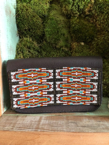 Beaded Belt Bag - Brown
