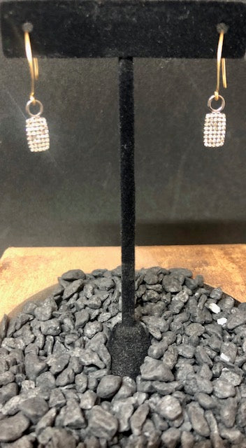 Pave Diamond Bar Earrings