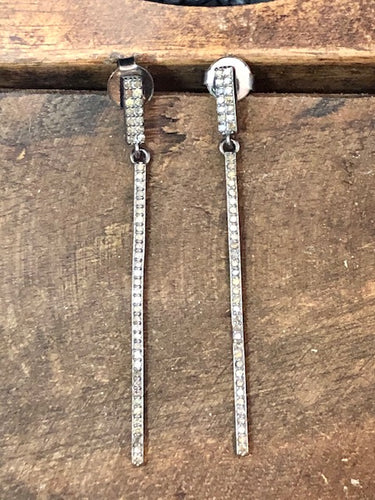 Diamond Bar Dangling Earrings