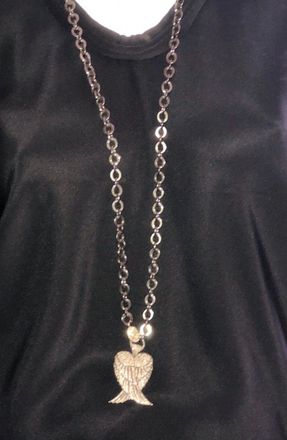 Sterling Silver Chain w/Diamond Angel Wings