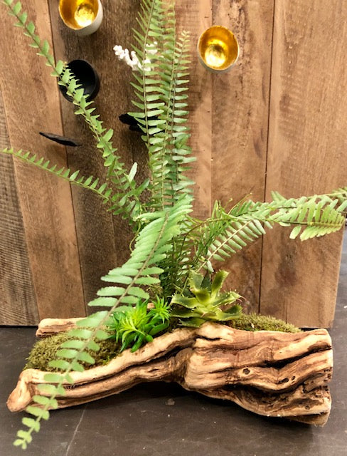 Artificial Fern in Tumbled Grapewood