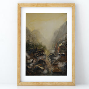 Mountain Village at Sunrise - Claire Gunn
