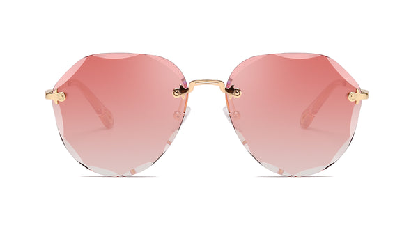 La Isla Rimless /Retro Pink Shade Scalloped Aviator Shape Womens Sunglasses.