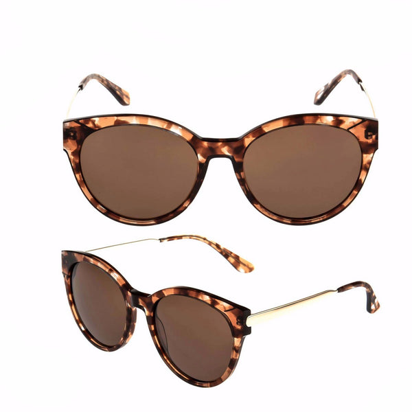 """Milan Sass"" Acetate-Leopard Print European Style Ladies Sunglasses"
