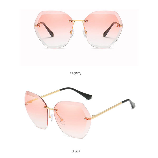 Evantikk Vintage/ Retro Pink Sapphire Shade Butterfly Oversized Rimless Ladies Womens Sunglasses